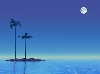 Poster Full moon Twilight at tropical sea