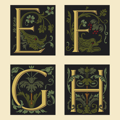 Sixteenth-Century alphabet E F G H