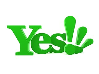 3D of the word Yes isolated against a white background