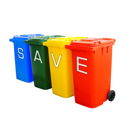 save wording on colorful recycle bins