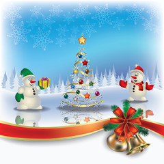 Christmas greeting with snowmen and tree