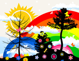 The sun and rainbow in summer wood. A vector illustration