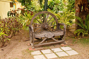 Rustic Wood Bench in Tropical Setting