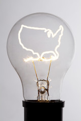Lightbulb with america shaped heat wire