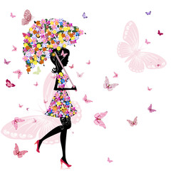 Recess Fitting Floral woman flower girl with umbrella