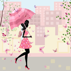 Foto op Plexiglas Bloemen vrouw beautiful girl with an umbrella in the city