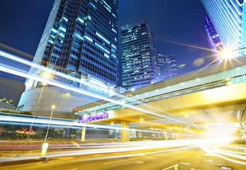 Traffic through the city at night
