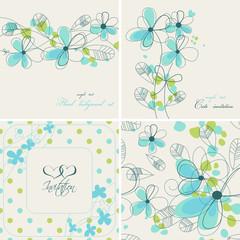 Fototapete - Cute floral backgrounds
