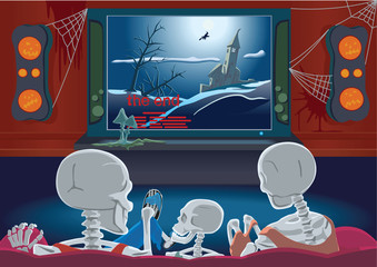 Family of skeletons are watching movie by home cinema
