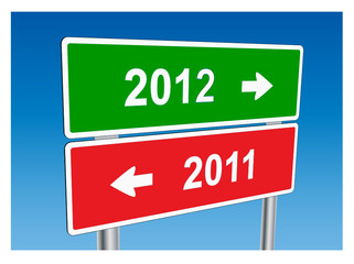 2012 & 2011 Signposts (Happy New Year greetings card)