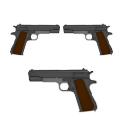 classic pistol 1911 a1 in toy style, create from paper texture.