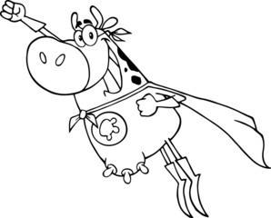 Outlined Super Hero Cow
