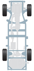 Plan of car chassis and transmission