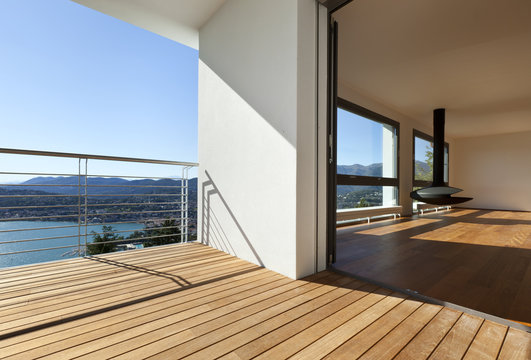 Modern apartment,.balcony with panoramic view