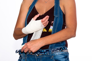 girl with an injured hand