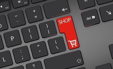 shop icon, button on black keyboard