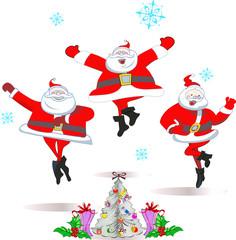 Merry dancing Santa at Christmas