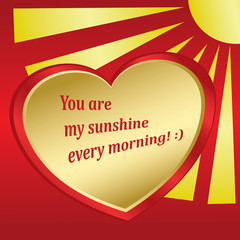 romantic card with sun and heart - vector