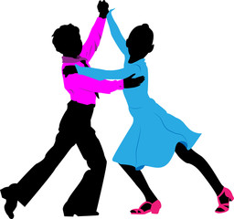 Silhouettes of children dancing couple