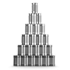 3d Pyramid display of tin cans