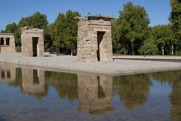 Egyptian temple in Madrid reflected in water