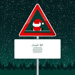 Road Sign Sitting Santa Snowfall