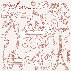 Door stickers Doodle LOVE in Paris doodles