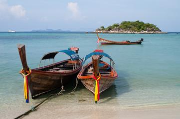 Two boat anchor on the beach, Lipeh island Thailand
