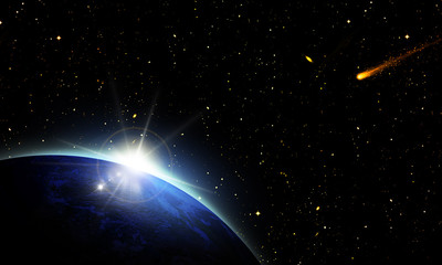 sight of sunshine / sunrise behind planet earth in space