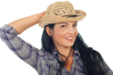 Attractive woman with cowboy hat