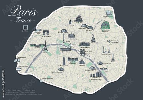 """Très Plan de Paris - Version Luxe avec Monuments (4)"""" fichier vectoriel  TL66"""