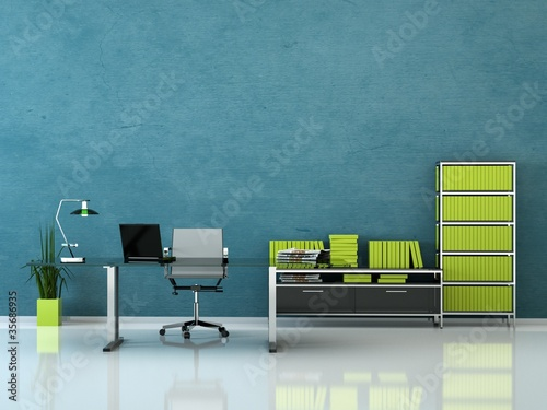 b rodesign b ro mit schreibtisch blau gr n stockfotos. Black Bedroom Furniture Sets. Home Design Ideas