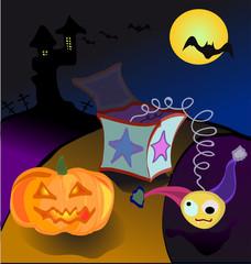 halloween pumpkin bat and crazy toy box