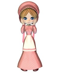 Rag Doll in Pink Gingham Dress and Bonnet