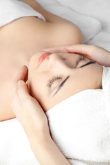 woman in spa with Towel on hair
