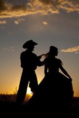 Cowboy couple silhouette hair