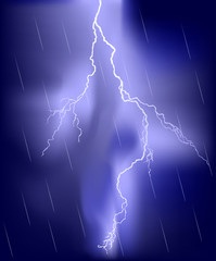 lightning in blue rain sky