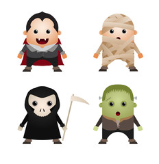 Set of Cute Halloween Characters