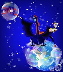 Dark blue dragon-New Year's a symbol of 2012