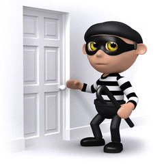 3d Burglar is checking the locks.