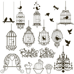 Foto op Canvas Vogels in kooien Birdcage set.