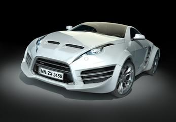 White hybrid sports car on a black background