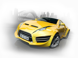 Yellow sports car against an urban background