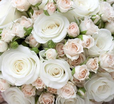 Wedding bouquet of pinkand white  roses