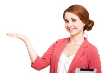 junge Frau mit Präsentationsgeste