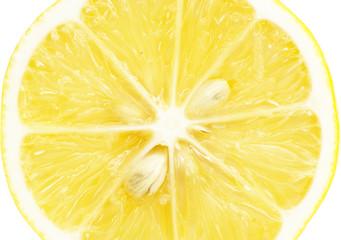 Aluminium Prints Slices of fruit Single cross section of lemon. Isolated on white background. Clo