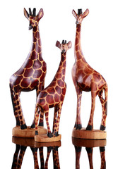 Wood carved family of miniature giraffes isolated