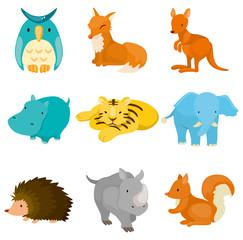 cartoon zoo animal icons