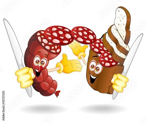 Pane e salame cartoon bread and salami sausage comics for Scarica clipart