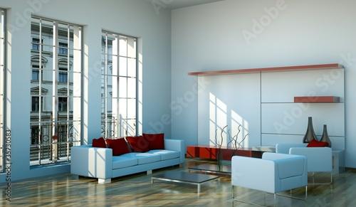 wohndesign modernes wohnzimmer weiss rot stockfotos